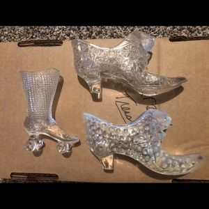 Crystal glass slipper figurines collectibles set